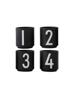 Espressobecher-Set 1234, 4-tlg., Fine Bone China, Schwarz, Weiß, Ø 5 x H 6 cm