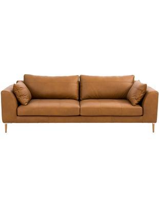 Sofa ze skóry Canyon (3-osobowa), Tapicerka: skóra częściowo anilinowa, Nogi: drewno bukowe, metal, Tapicerka: koniakowy<br>Nogi: drewno bukowe, srebrny, S 225 x G 100 cm