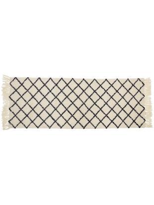 Passatoia in lana Alva, Crema, antracite, Larg. 70 x Lung. 200 cm