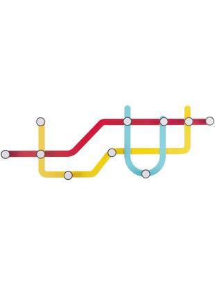 Perchero de pared de diseño Subway, Rojo, amarillo, azul claro, An 58 x Al 20 cm