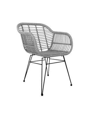 Sedie con braccioli Costa, 2 pz., Seduta: treccia di polietilene, Struttura: metallo verniciato a polv, Grigio, L  59 x P  61 cm