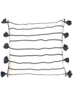 Kissenhülle Blanket mit Quasten, Baumwolle, Schwarz, Weiß, 50 x 50 cm
