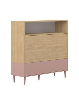Credenza scandi Horizon, Piedini: legno di faggio, massicci, Legno di quercia, rosa cipria, L 120 x A 121 cm