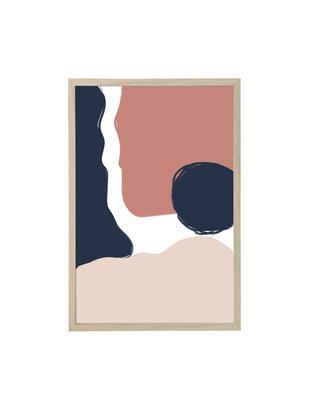 Oprawiony druk cyfrowy Carnation, Niebieski, blady różowy, S 45 x W 65 cm