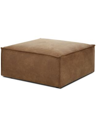 Sofa-Hocker Lennon aus Leder, Bezug: 70% Leder, 30% Polyester , Gestell: Massives Kiefernholz, Spe, Füße: Kunststoff, Leder Braun, 88 x 43 cm
