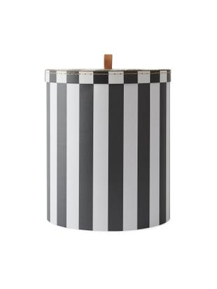 Caja Cecila, Cartón, cuero, Negro, blanco, Ø 28 x Al 32 cm