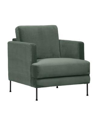 Samt-Sessel Fluente, Bezug: Samt (Hochwertiger Polyes, Gestell: Massives Kiefernholz, Füße: Metall, lackiert, Samt Grün, B 76 x T 83 cm