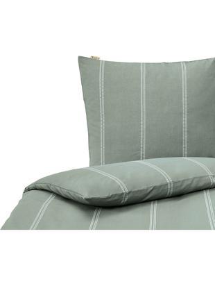 Bettwäsche Remade, 52% recyceltes Polyester, 48% recycelte Baumwolle, Jadegrün, Weiß, 135 x 200 cm