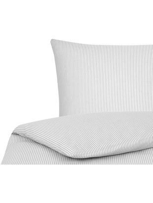 Parure copripiumino renforcé finemente rigata Ellie, Tessuto: Renforcé, Bianco, grigio, 155 x 200 cm