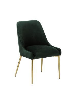 Sedia imbottita in velluto con gambe dorate Ava, Rivestimento: velluto (100% poliestere), Gambe: metallo zincato, Verde scuro, Larg. 53 x Prof. 60 cm
