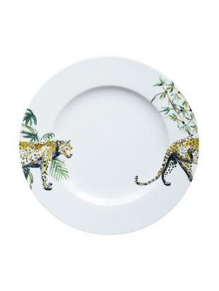Platos llanos Panther, 2uds., Porcelana, Blanco, amarillo, marrón, verde, negro, Ø 27 cm