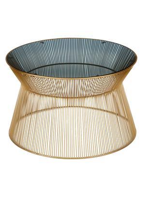 Tavolino da salotto rotondo con piano in vetro Vic, Piano del tavolo: vetro colorato, Struttura: metallo placcato in oro, Oro, nero, Ø 67 x Alt. 41 cm