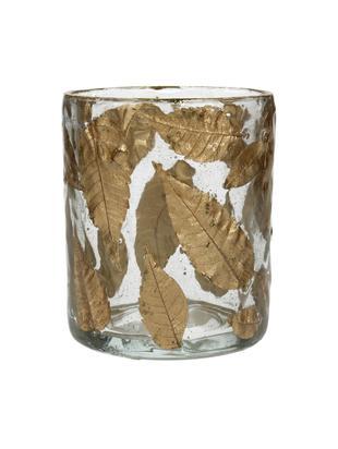 Windlicht Golden Leaf, Glas, Laubblätter, Transparent, Goldfarben, Ø 8 x H 9 cm