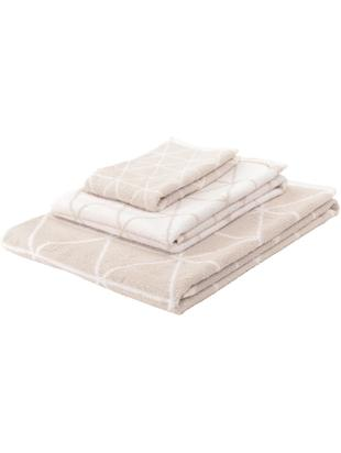 Set asciugamani reversibili Elina, 3 pz., 100% cotone, qualità media 550g/m², Sabbia, bianco crema, Diverse dimensioni