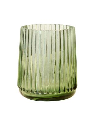 XS Glas-Vase Ribbed in Grün, Glas, Grasgrün, Ø 11 x H 9 cm