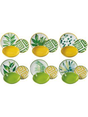 Set di piatti con motivo tropicale Botanique , 6 persone (18 pz.), Porcellana, Gres, Verde, bianco, giallo, Diverse dimensioni