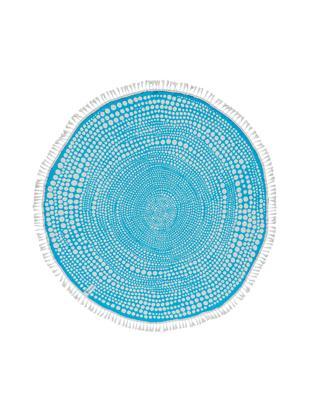 Rundes Strandtuch Kivi, Vorderseite: Velour (Baumwolle), Rückseite: Frottee (Baumwolle) Mitte, Türkis, Weiss, Ø 150 cm