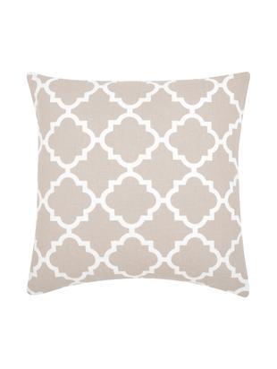 Kissenhülle Lana mit grafischem Muster, Baumwolle, Beige, Weiß, 45 x 45 cm