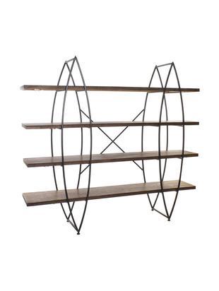 Estantería Grid, Estructura: metal, Estantes: madera de abeto, Negro, An 200 x Al 184 cm