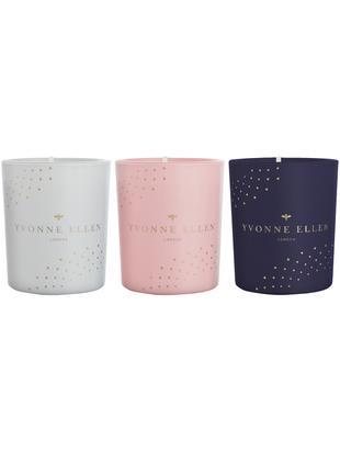 Set candele profumate Yvonne Ellen (fico e agrumi), 3 pz., Contenitore: vetro, Grigio, rosa, blu, Ø 6 x Alt. 7 cm