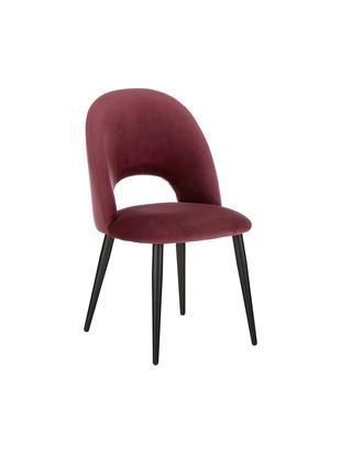 Krzesło tapicerowane z aksamitu Rachel, Tapicerka: aksamit (wysokiej jakości, Nogi: metal malowany proszkowo, Tapicerka: ciemny fioletowy nogi: czarny, matowy, S 53 x G 57 cm