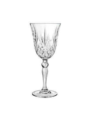 Kristall-Weissweingläser Melodia mit Reliefmuster, 6er-Set, Kristallglas, Transparent, Ø 8 x H 19 cm