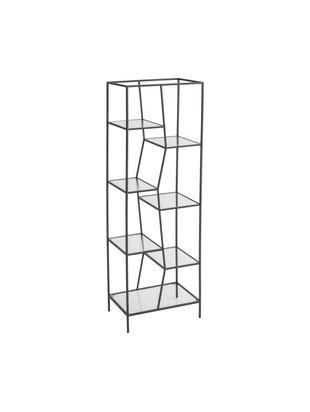 Regał Structure, Metal powlekany, szkło, Czarny, transparentny, S 50 x W 150 cm