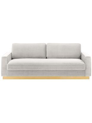 Sofa z aksamitu Chelsea (3-osobowa), Tapicerka: aksamit (wysokiej jakości, Stelaż: masywne drewno świerkowe, Stelaż: metal powlekany, Jasny szary, S 228 x G 100 cm