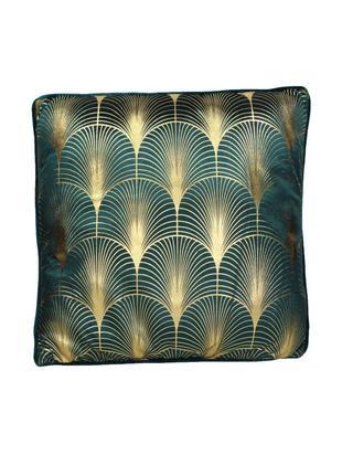 Cuscino con imbottitura in velluto Whety, Velluto, Petrolio, dorato, Larg. 45 x Lung. 45 cm