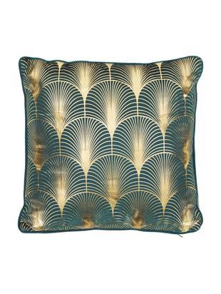 Cojín de terciopelo Whety, estilo Art Deco, con relleno, Terciopelo, Azul petróleo, dorado, An 45 x L 45 cm