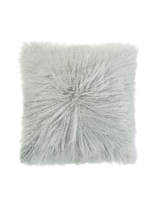 Poduszka ze skóry owczej z długim włosiem Curly, Miętowy, S 35 x D 35 cm