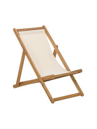 Sedia a sdraio Zoe, Struttura: legno di acacia oliato, Bianco, Larg. 59 x Prof. 91 cm