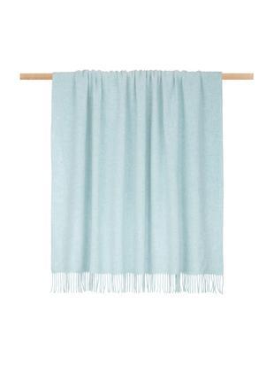 Plaid in lana leggero Patriciu con finitura a frange, Lana, Verde blu, Larg. 130 x Lung. 170 cm