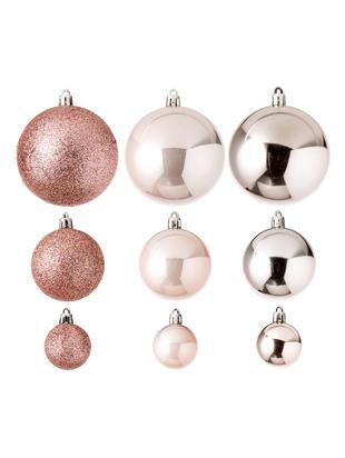Set palline di Natale Silvia, 46 pz., Materiale sintetico, Rosa, Diverse dimensioni