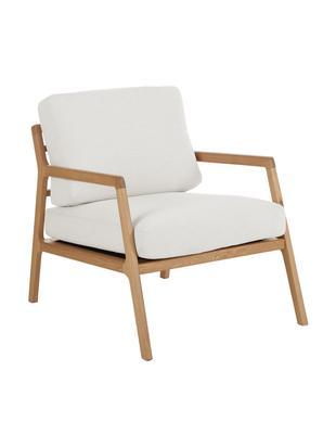 Sessel Becky mit Armlehnen aus Eichenholz, Bezug: Polyester 35.000 Scheuert, Gestell: Massives Eichenholz, Webstoff Beige, Eichenholz, B 73 x T 68 cm
