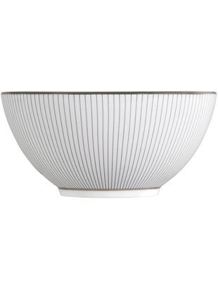 Cuencos Pin Stripe, 4uds., Borde: plateado, Blanco, azul, platino, Ø 14 x Al 7 cm