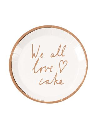 Platos de papel We All Love Cake, 12 uds., Papel, Blanco, oro rosa, Ø 15 x Al 2 cm