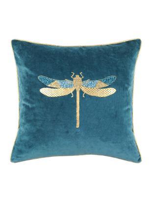 Cuscino in velluto con imbottitura Cabaret, Velluto di cotone, Petrolio, oro, Larg. 40 x Lung. 40 cm