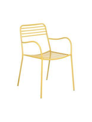Krzesło balkonowe z metalu z podłokietnikami Tula, 2 szt., Metal malowany proszkowo, Żółty, S 50 x G 60 cm