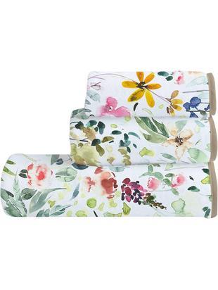 Set de toallas Calm Flowers, 3pas., Parte superior: 100% algodón, Reverso: microfibra de 100% poliés, Multicolor, Tamaños diferentes