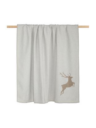 Manta doble cara de tela polar Sylt Hirsch, 85%algodón, 8%viscosa, 7%poliacrílico, Beige, An 140 x L 200 cm