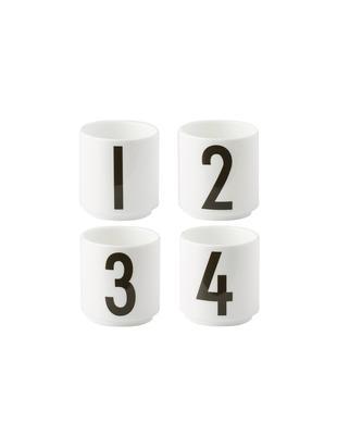 Set tazze da caffè 1234, 4 pz., Porcellana Fine Bone China, Bianco, nero, Ø 5 x A 6 cm