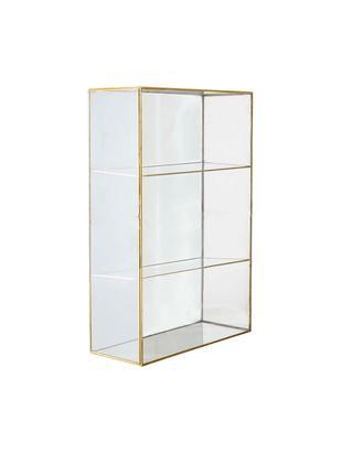 Półka ścienna ze szkła z drzwiczkami Lia, Mosiądz, szkło, Transparentny, odcienie mosiądzu, S 31 x W 47 cm