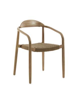 Sedia con braccioli Nina in legno, Struttura: legno di eucalipto massic, Seduta: corda in poliestere, Beige, legno di eucalipto, Larg. 56 x Prof. 53 cm