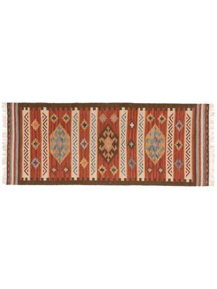 Handgewebter Kelimläufer Zohra aus Wolle, Flor: 90% Wolle, 10% Baumwolle, Rot, Mehrfarbig, 80 x 200 cm