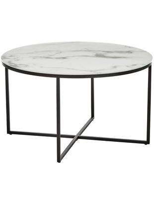 Couchtisch Antigua mit marmorierter Glasplatte, Tischplatte: Glas, matt bedruckt, Gestell: Stahl, pulverbeschichtet, Weiß-grau marmoriert, Schwarz, Ø 80 x H 45 cm