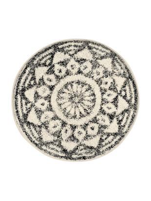 Ronde badmat Gaile in boho stijl, antislip, Bovenzijde: katoen, Onderzijde: siliconen, Bovenzijde: crèmekleurig, grijs gevlekt. Onderzijde: crèmekleurig, Ø 60 cm
