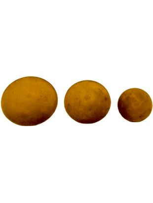 Set 3 ganci in velluto Giza, Velluto, metallo, Giallo senape ottonato, Diverse dimensioni