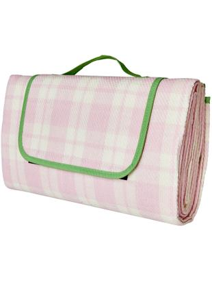 Coperta da picnic Checked, Rosa, bianco, verde, P 150 x L 150 cm