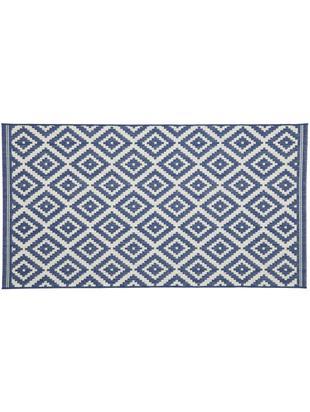 Gemusterter In- & Outdoorteppich Miami, Flor: Polypropylen, Weiss, Blau, B 80 x L 150 cm (Grösse XS)